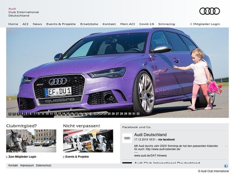 Screenshot von http://www.audi-club-international.de/